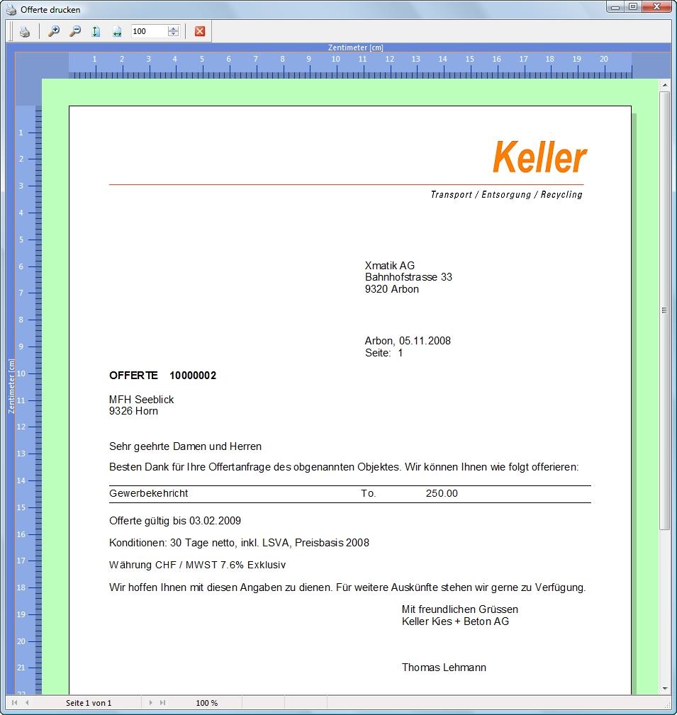 Etter Electronics Ag Xtrans Software Offertwesen Offerten